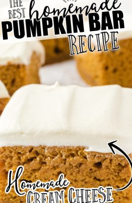 pumpkin bars slice with cream cheese frosting