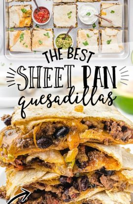 sheet pan quesadillas stacked on top of each other on a white plate