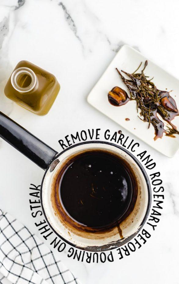 balsamic glazed steak rolls process shots of ingredients in a pot