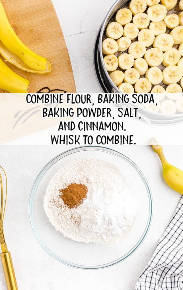 upside down banana cake process steps of combining ingredients in a clear mixing bowl