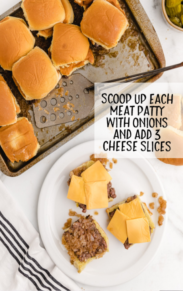 white castle sliders with cheese on a white plate and in a tin pan with a spatula