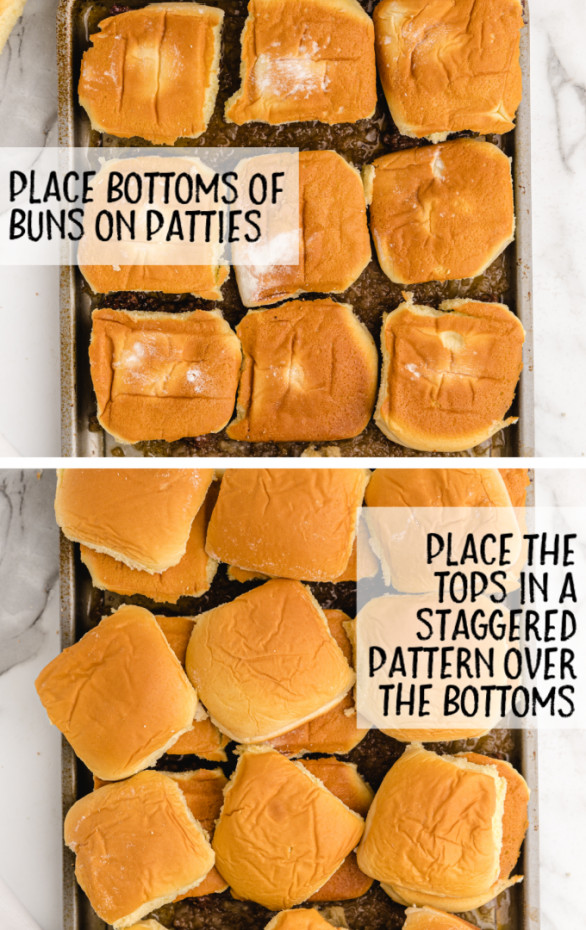 steps of white castle sliders in a tin pan with the patties at the bottom, bottom bun in the middle, and top bun on the top