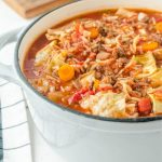 cabbage roll soup in a dutch oven close up