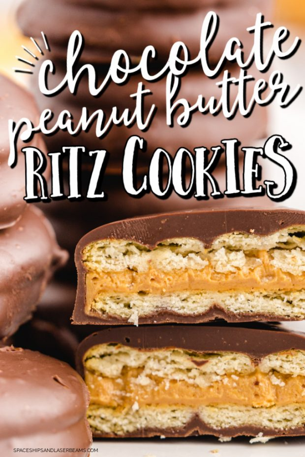 close up shot of Chocolate Peanut Butter Ritz Cookies showed the inside layers of the cookie