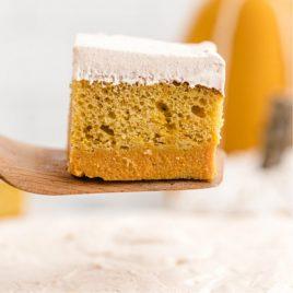 pumpkin magic cake on a cake server showing three distinct layers