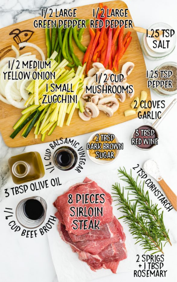 balsamic glazed steak rolls raw ingredients that are labeled
