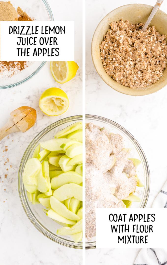 apple crisp process shot