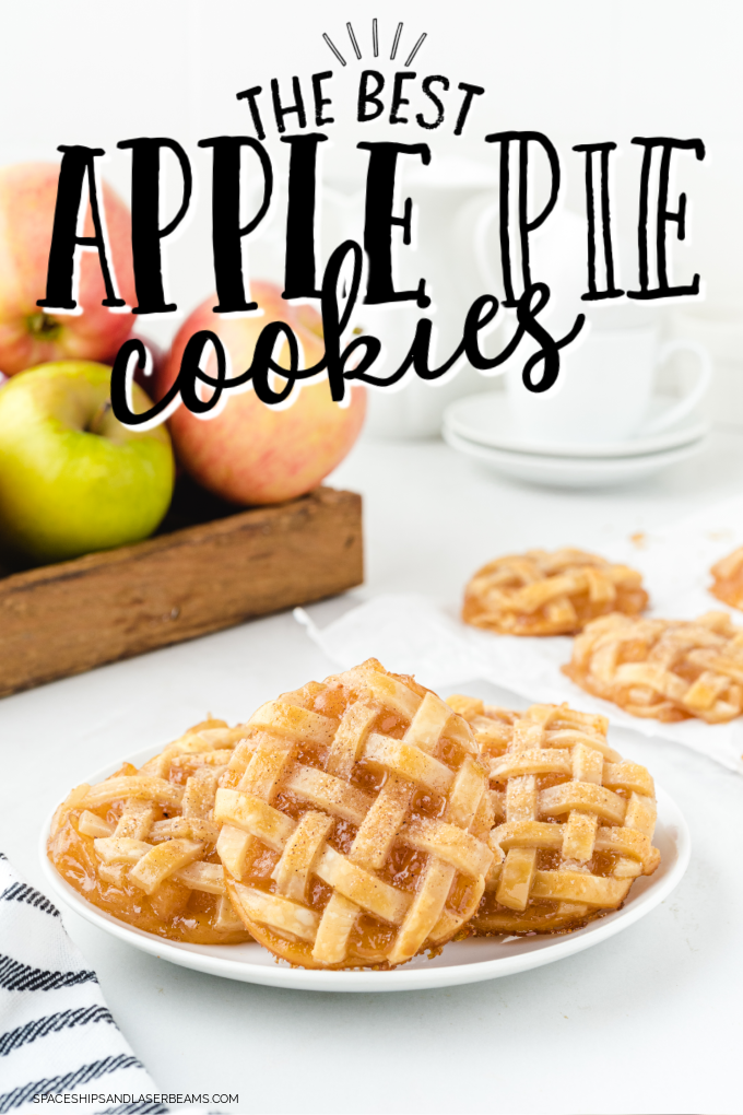 apple pie cookies on a white plate with apples in the background