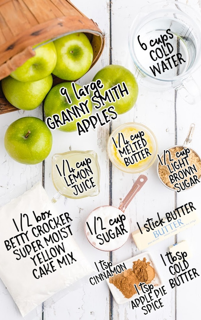 apple dump cake raw ingredients that are labeled