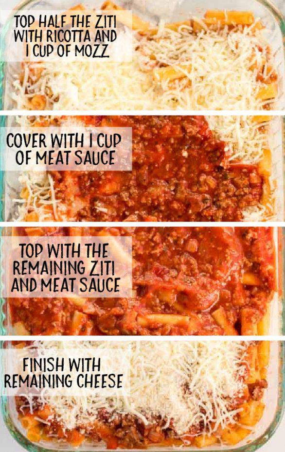 easy baked ziti process shot