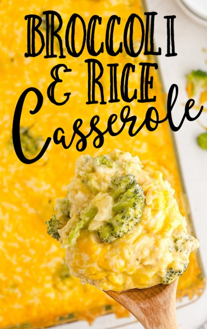 close up shot of broccoli and rice casserole on a wooden spoon