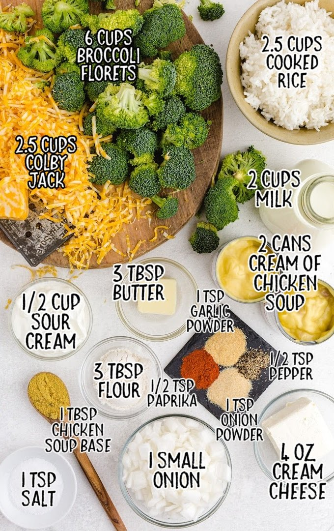 broccoli and rice casserole raw ingredients that are labeled