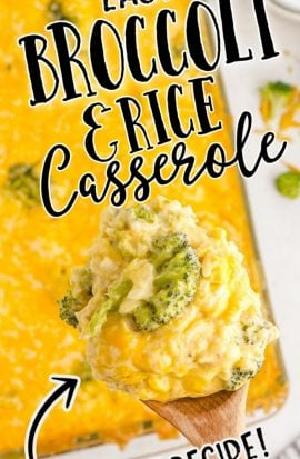 broccoli and rice casserole on a wooden spoon