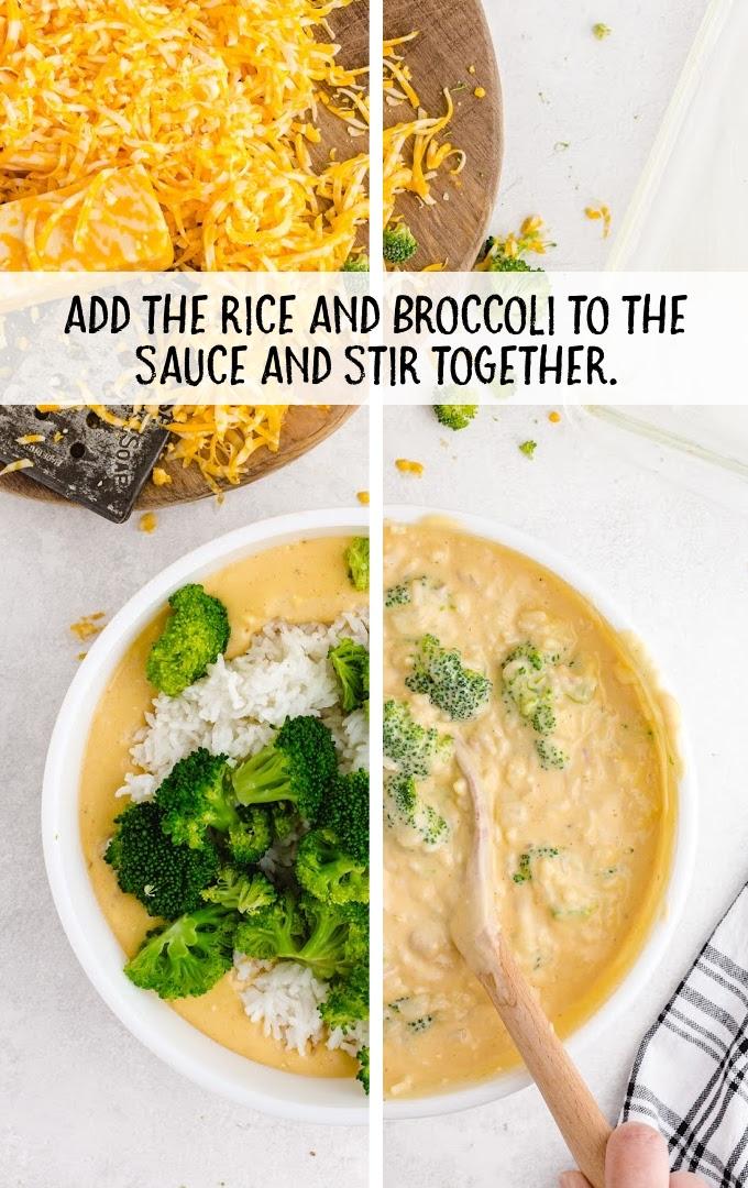 broccoli and rice casserole process shot