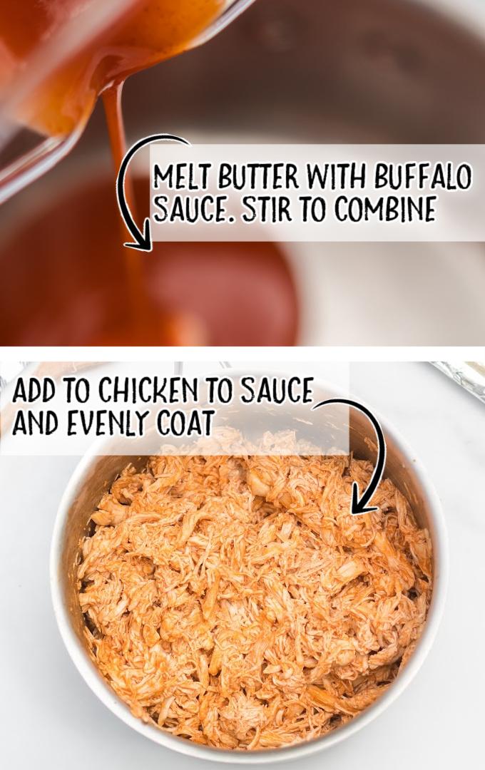 buffalo chicken sliders process shot