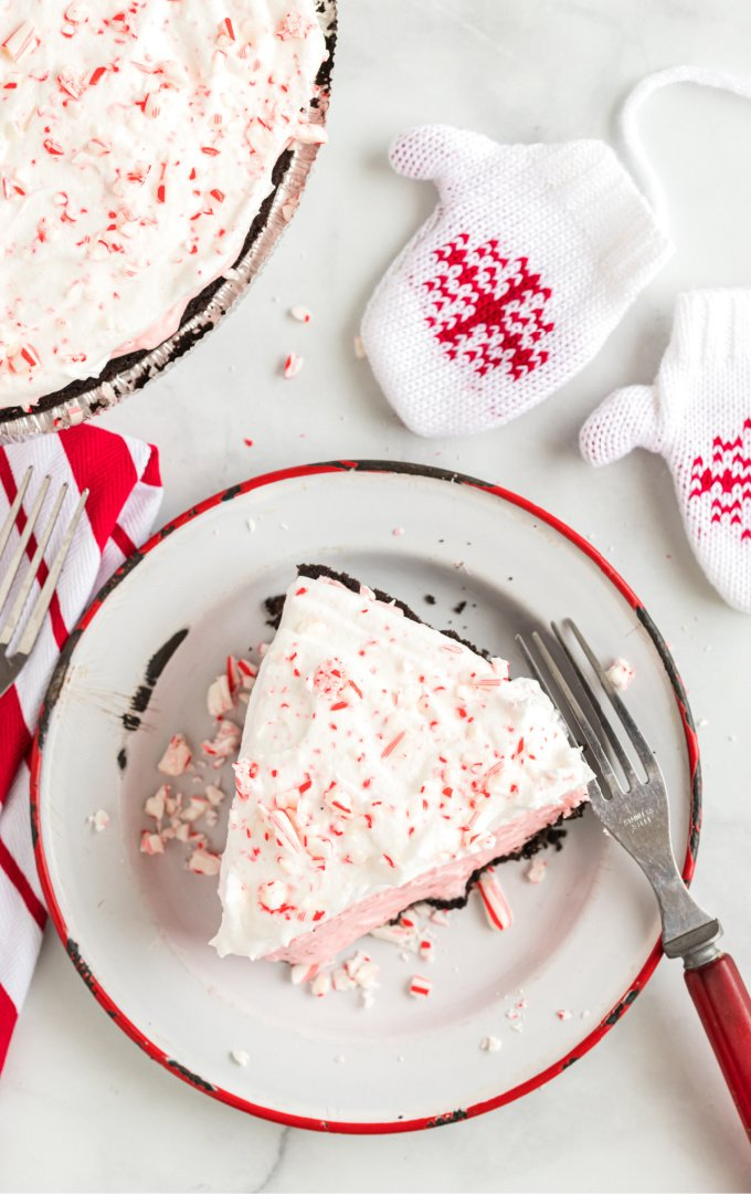 overhead shot of candy cane pie