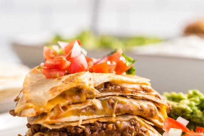 Cheesy Beef Quesadillas Served with Toppings