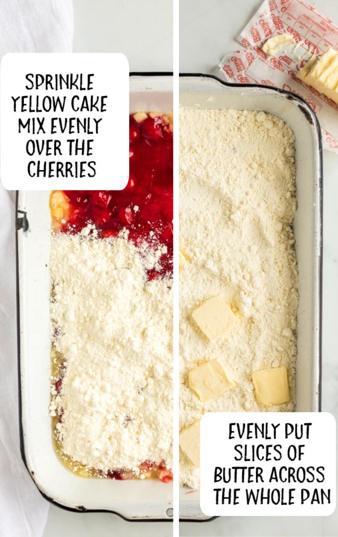cherry pineapple dump cake process shot