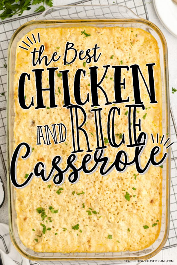 chicken and rice casserole in a clear tray