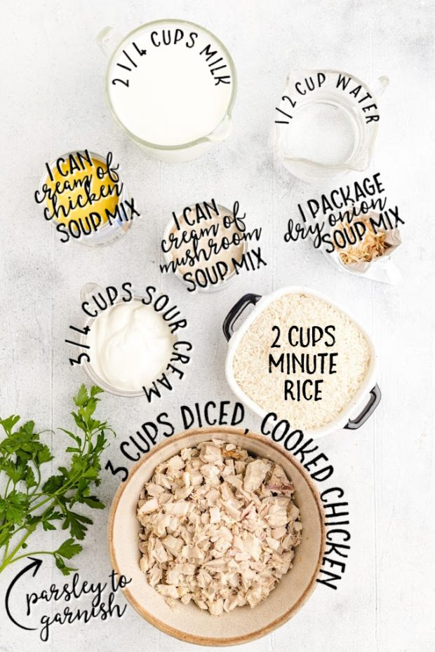 chicken and rice casserole raw ingredients that are labeled