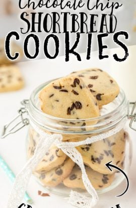 chocolate chip shortbread cookies in a clear jar