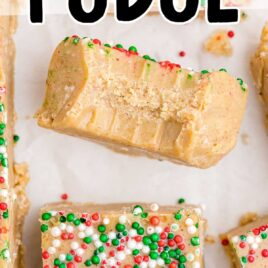 close up overhead shot of Gingerbread Fudge with sprinkles