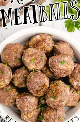 over head shot of homemade meatballs in a white bowl