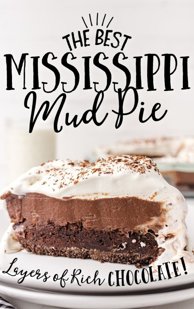 mississippi mud pie showing its layers on a white plate