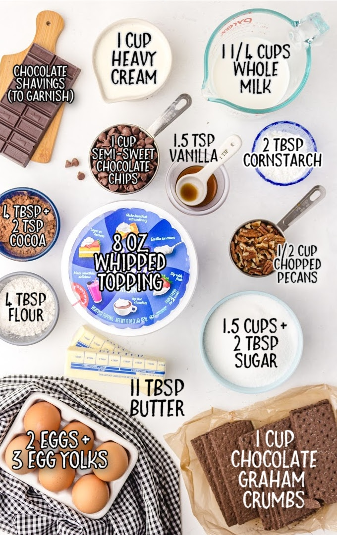 mississippi mud pie raw ingredients that are labeled