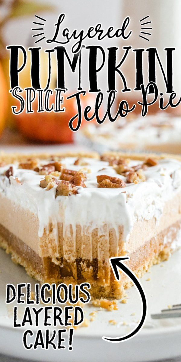 close up front shot of layered pumpkin spice jello pie