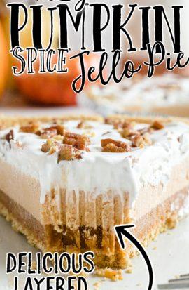 close up shot of layered pumpkin spice jello pie