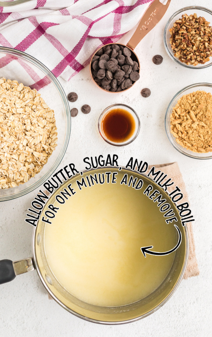 no bake chocolate oatmeal cookie bars process shot