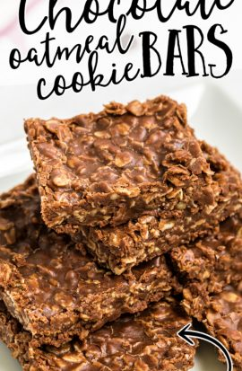 close up shot of no bake chocolate oatmeal cookie bars stacked on top of each other