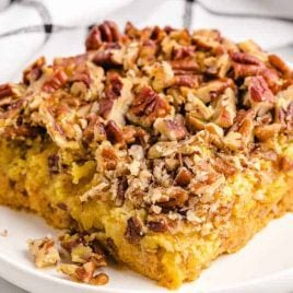 close up shot of a slice of Pumpkin Crunch Cake on a plate