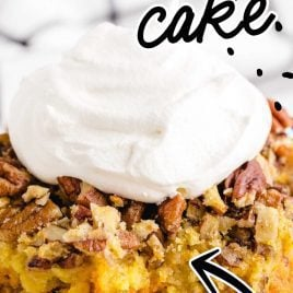close up shot of a slice of Pumpkin Crunch Cake topped with whipped topping on a plate