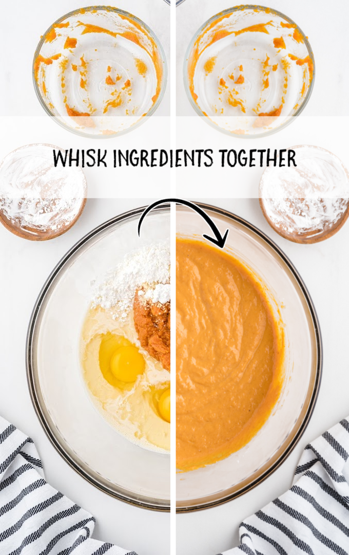 impossible pumpkin pie cupcakes process shot of ingredients being mixed together