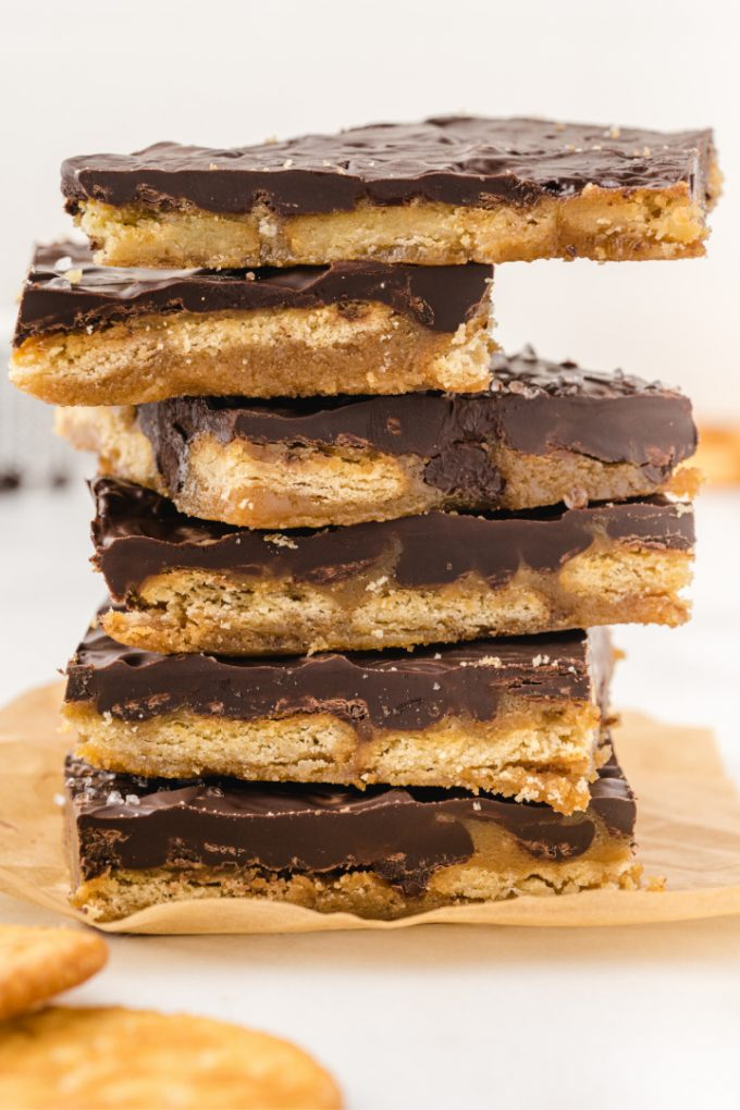 close up shot of ritz cracker toffee stacked on top of each other