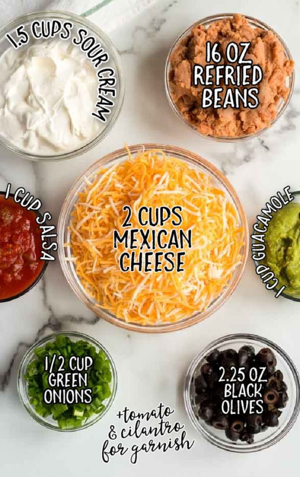 seven layer dip raw ingredients that are labeled