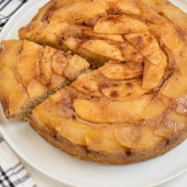 Upside Down Apple Cake on a white plate