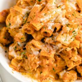 close up shot of one pot chicken parmesan pasta