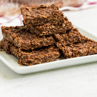 no bake chocolate oatmeal cookie bars stacked on top of each other on a white plate