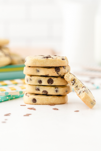 chocolate chip shortbread cookies stacked on top of each other
