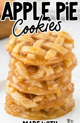 apple pie cookies stacked on top of each other on a white plate