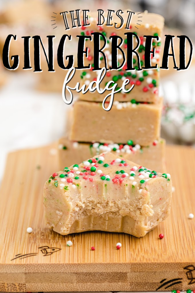 gingerbread fudge stacked on top of each other on a wooden cutting board