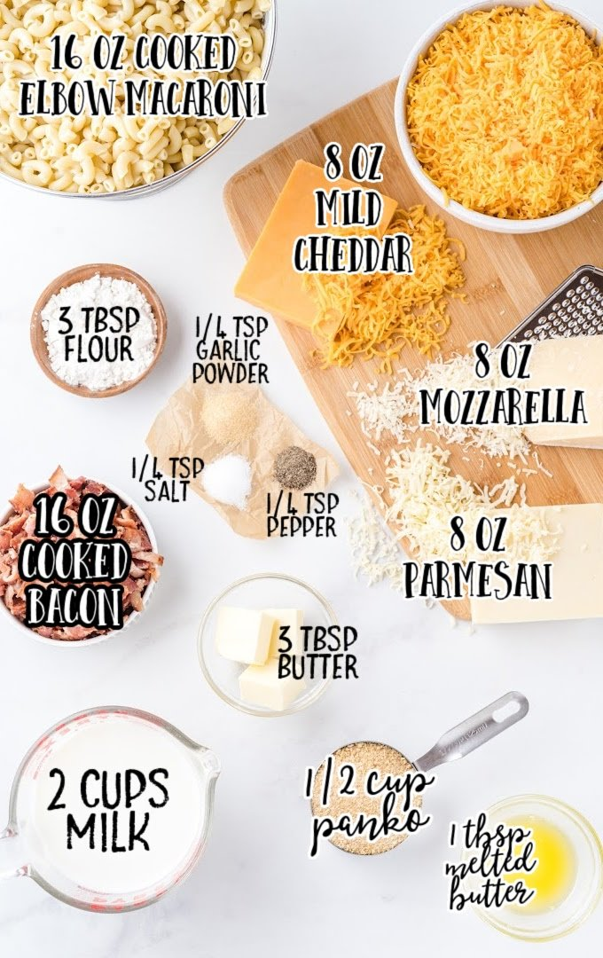 bacon mac and cheese raw ingredients that are labeled