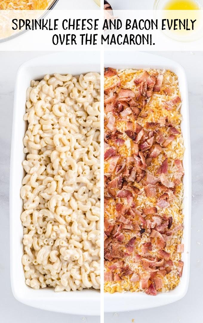bacon mac and cheese process shot