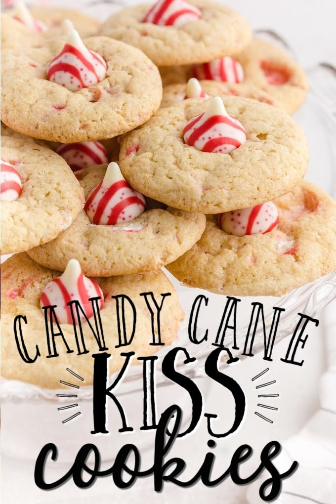 close up shot of candy cane kiss cookies stacked on top of each other