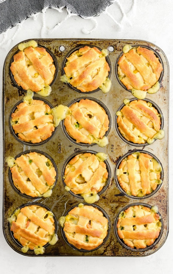 mini chicken pot pies in a cupcake pan