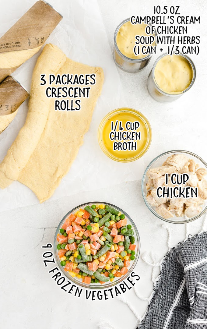 mini chicken pot pies raw ingredients that are labeled