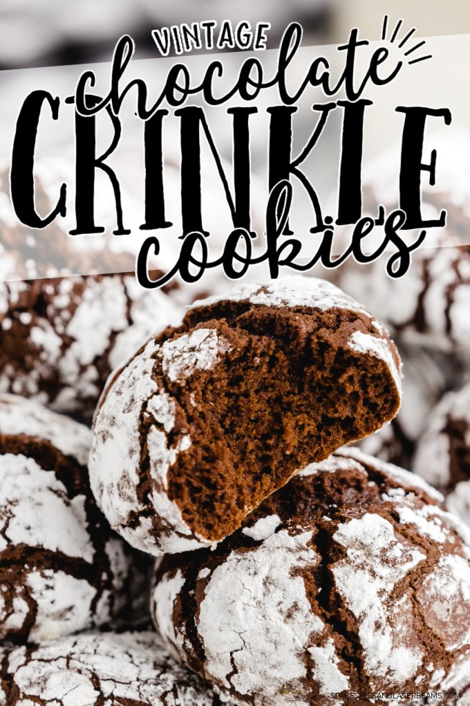 close up shot of chocolate crinkle cookies stacked on top of each other